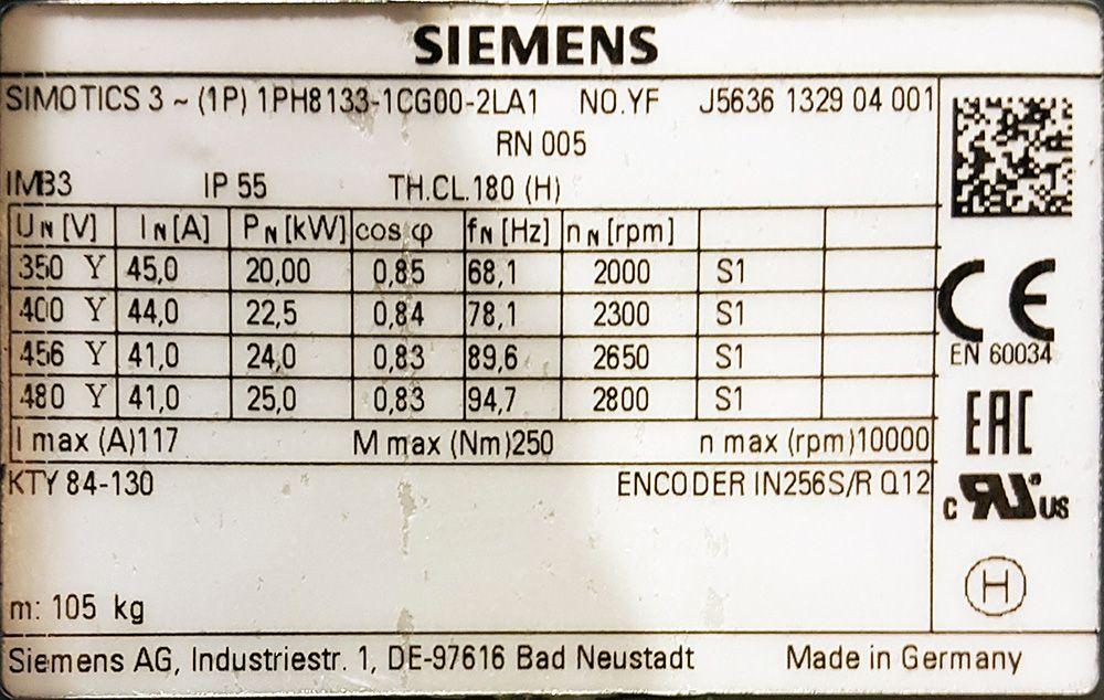 1PH8133-1CG00-2LA1 asynchronní vřetenový motor Siemens